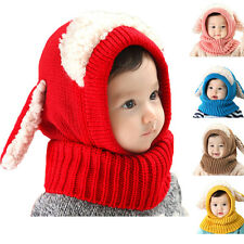 Toddler Girls Boys Baby Winter Beanie Warm Hat Hooded Scarf Earflap Knitted Cap