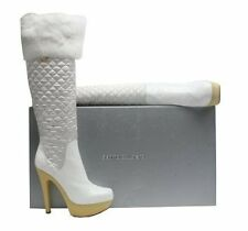 GIANMARCO LORENZI WHITE QUILTED BOOT WITH BLACK FUR CUFF