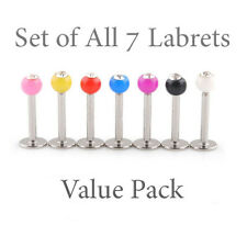 7 X Pcs Labret Stud Bar Pack Steel Acrylic Crystal Colour Ball 16G Lip Monroe