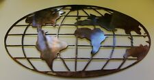 """Metal Art World Map 32"""" wide copper and bronze plated metal wall art decor"""