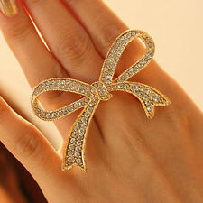 Adjustable Rings Crystal Big Bowknot Design Finger Ring Lady Jewelry