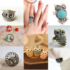 Vintage Women Owl Ring Retro Fashion Jewelry Finger Ring Cute Silver Tone HOT