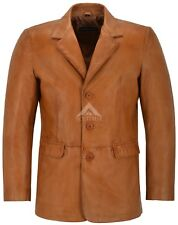 CLASSIC BLAZER Men's SLIM JIM TAN Tailored Soft Real Nappa Leather Jacket Coat