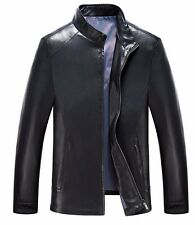 mens stand collar zipper slim fit leather coats Korean business jackets new A848