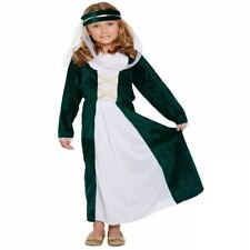 MEDIEVAL MAIDEN GIRLS FANCY DRESS UP COSTUME MAID MARION TUDOR HALLOWEEN OUTFIT