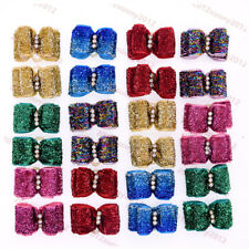 New  Handmade Cat Dog christmas accessories Bling rhinestone dog pet hair bows