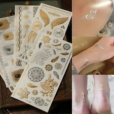 Fashion Gold Silver Metallic Temporary Tattoos Stickers Body Art Inspired Tatoo