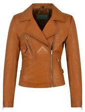 Ladies BRANDO 2588 Tan Biker Style Motorcycle Soft Napa Italian Leather Jacket
