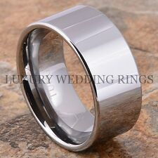 10 mm Tungsten Carbide Wedding Band Pipe-Cut Mens Ring Shiny Jewelry Size 6-13