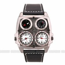 OULM Military Army Square Shape Dual Time Zones Movements Quartz Mens Watch