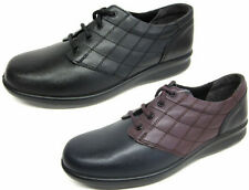 'SIZZLE' EASY B DB LADIES WIDE FITTING QUILTED LEATHER LACE UP SHOES EE FITTING