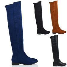 LADIES FLAT OVER THE KNEE HIGH ZIP WOMENS WINTER BIKER RIDING THIGH HIGH BOOTS