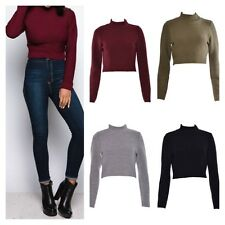 NEW WOMENS LADIES LONG SLEEVE STRETCH HIGH TURTLE NECK KNITTED CROP JUMPER TOP
