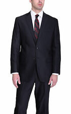 Mens Classic Fit Solid Black Two Button Wool Suit with Flat Front Pants