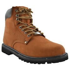 Mens Work Boots Oil Resistant Genuine Leather Work Hiking Padded Shoes Cognac