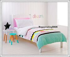 White Black Pink Yellow Dot Triangle Panel Single Double Quilt Doona Cover Set