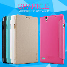 Nillkin Sparkle Series Matte PU Leather Wallet Case Cover For Sony Xperia C4
