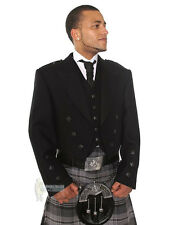 PRINCE CHARLIE SCOTTISH WOOL KILT JACKET & VEST - BLACK BUTTONS - CHEST 36""