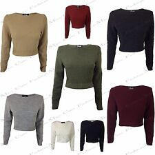NEW WOMENS LADIES LONG SLEEVE STRETCH CASUAL ROUND NECK KNITTED CROP JUMPER TOP