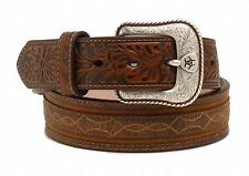Ariat Western Mens Belt Barbwire Embossed Leather Brown A1020002