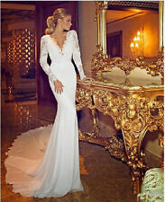 Romantic Long sleeve Sexy V-Neck Wedding Dress Bridal Gown Custom Made All Size