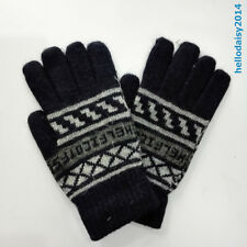 Mens Wool Gloves Soft Stretch Knit large gloves Winter Cold Weather Gloves