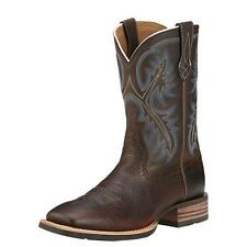 Ariat Western Work Mens Boots Quickdraw Cowboy Brown Oiled Rowdy 10006714