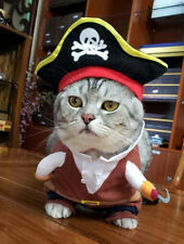 Hot! Pet Cloth Pirate Cosplay Funny Cool Halloween Small Cat Dog Cloth With Hat