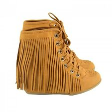 Womens Ladies Fringe Tassel Boots Wedge Mid Heel Platform Ankle Lace Up Shoes