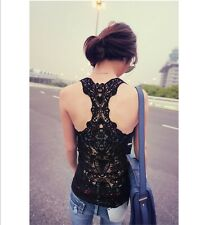 C017 Sexy Korea Women Girl Openwork Hollow-out Vest Tank Top Solid Lace Tops US