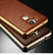 New Leather Back Case Aluminum Metal Bumper Cover Skin For Huawei Ascend Mate 7
