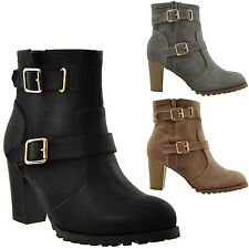 Womens Platform Ankle Boots Chunky Heel Lug Casual Shoes Booties Buckles Straps