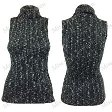 NEW WOMENS LADIES CABLE KNIT HIGH POLO NECK SLEEVELESS KNITTED JUMPER LOOK TOP