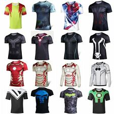 Marvel Superhero Compression Men's Shirts Costume Sports Fit Top Tee T-Shirts