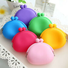 Women Silicone Round Soild Coin Purses Wallet Card Key Phone Durable Bag Case
