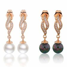 Pretty quality 18K Gold Filled Swarovski Crystal & pearl stud dangle earrings
