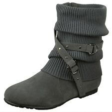 Womens Slouchy Knitted Flat Ankle Boots Suede Crisscrossed Strap Buckles Zipper