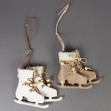 Christmas Decorations Choice of 2 Rustic Wood Skates Brown White Sass & Belle