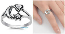 Sterling Silver 925 PRETTY MOON, STAR & HEART DESIGN SILVER RING 13MM SIZES 4-12