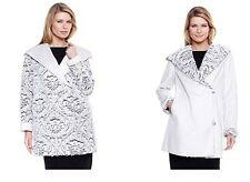 """A by ADRIENNE LANDAU """"GLAM REVERSIBLE FAUX SHEARLING COAT XS  IVORY or BLACK MED"""