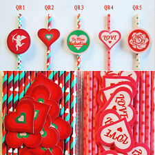 25x Valentine's Day Paper Drinking Straws with 25x Love Sticker Tags Party Decor