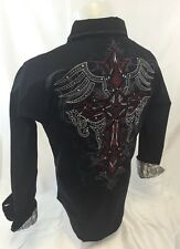Mens Victorious Cross Stones Button Down Shirt Black Red Stitch Roar Wt Style 40