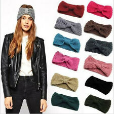 Women Charm Crochet Bow Turban Knitted Head wrap Hair Band Ear Warmer Headband
