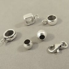 925 Sterling Silver Charm Findings Spacer/Converter Beads, Lobster Clasp NEW FD