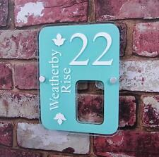 MODERN HOUSE SIGN NUMBER STREET ADDRESS PLAQUE GLASS EFFECT PERSONALISED ACRYLIC