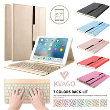 Leather Cover With 7 Color Backlit Bluetooth Keyboard Case For iPad Air 2/iPad 6