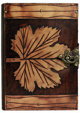 Winter Leaf Refillable Leather Journal / Diary / Lock / Brown Notebook Handmade