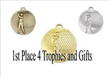 50mm Golf Medals - Gold, Silver & Bronze - free ribbon