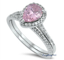 Sterling Silver 925 BRIDAL WEDDING SET PINK PEAR CUT DESIGN CZ RING 8MM SIZE5-10