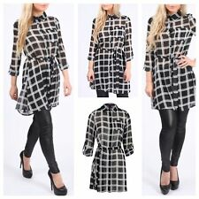 NEW WOMENS LADIES CHIFFON CHECKED SHIRT DRESS TURN UP SLEEVE TIE BELT BLOUSE TOP